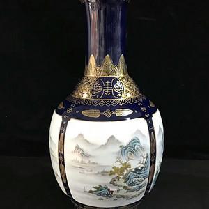 本金祭蓝釉开光山水风景纹瓶