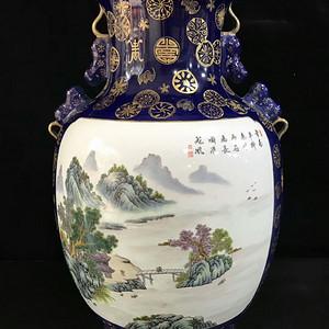 本金祭蓝釉描金山水风景人物纹花口瓶