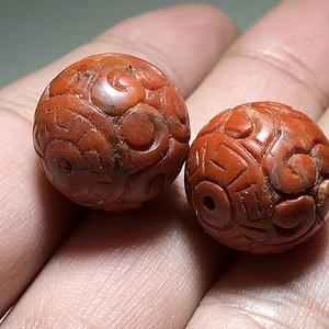 清 正宗保山南红 柿子红 回纹珠 手工雕刻 工艺精美 包浆浑厚