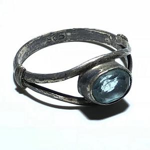 回流 五十年代 海蓝宝 一克拉左右 戒指 925银托 手工镶嵌打造