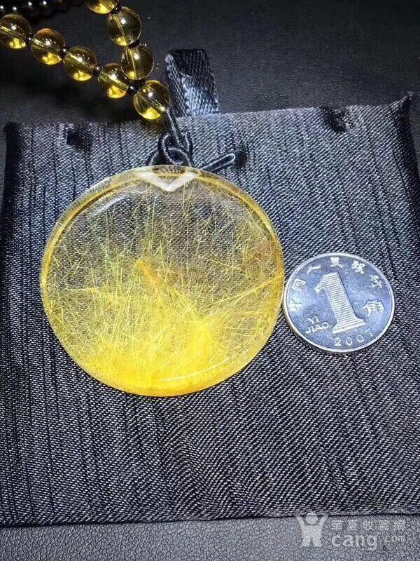 纯天然金发晶圆牌吊坠毛衣链图2