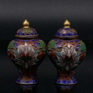早期收藏尼泊尔西藏花卉纹景泰蓝将军罐一对