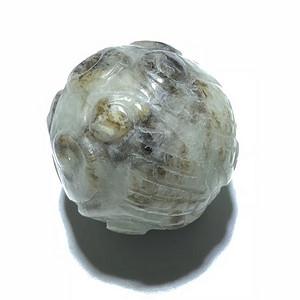 清 和田玉籽料 回纹 珠子 一枚 工艺十分精湛 包浆老厚 皮壳厚重