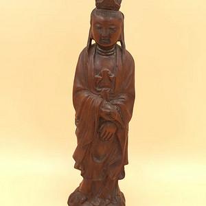 清 南工 黄杨木 观音大士 站像 手工雕刻 工艺精美绝伦 包浆浑厚