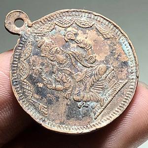 清晚期 藏传 象鼻财神 佛牌 手工制作 包浆老厚 紫铜 打造 品相完好