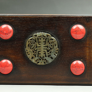 联盟 旧藏老料草花梨镶嵌首饰盒摆件