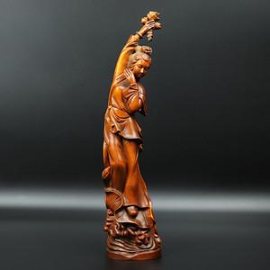联盟 旧藏黄杨木雕莲花美女摆件
