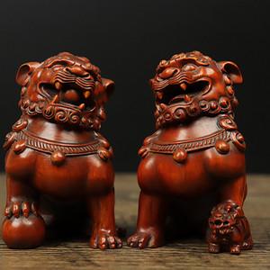 联盟 旧藏黄杨木雕对狮摆件