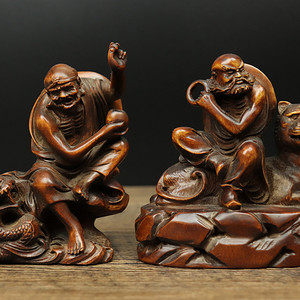 联盟 旧藏黄杨木雕降龙伏虎摆件