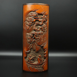 旧藏竹雕镶红木边笔阁摆件
