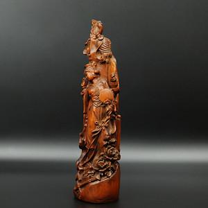 旧藏黄杨木雕美女摆件