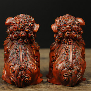 旧藏黄杨木雕对狮摆件