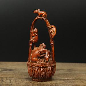 旧藏黄杨木雕五鼠聚财摆件