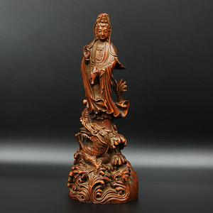 旧藏黄杨木雕御龙观音摆件