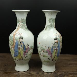 景德镇近代细工粉彩瓷观音对瓶
