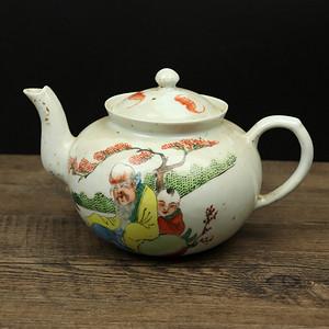 近代景德镇细工人物茶壶