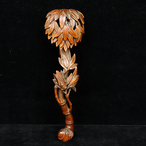 旧藏小叶黄杨竹节如意摆件