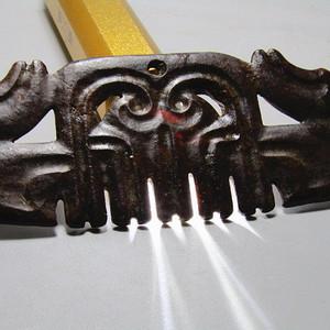 河磨老玉  双面 卷云玉佩 刀工古朴有力包浆厚重