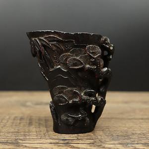 旧藏老料红酸枝角杯摆件