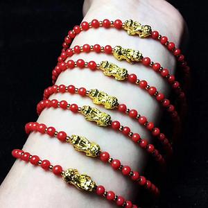 联盟 天然极品牛血红珊瑚4mm左右手链