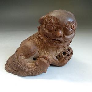 文革时期竹雕子母狮