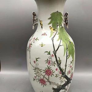 全品民国早期细路粉彩柳树黄莺大花瓶一件