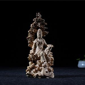 老料小叶黄杨木手工精雕 自在观音