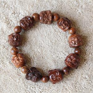 海南黄花梨1.5雕刻 十八罗汉 手串