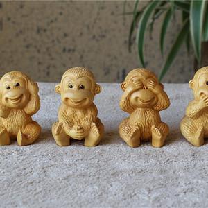 顶级湖北小叶黄杨木雕刻 四不猴 礼盒