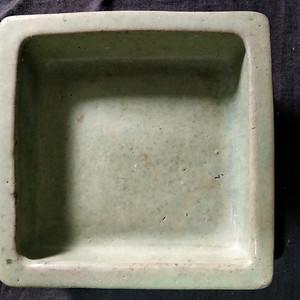 清末紫砂绿釉花盆