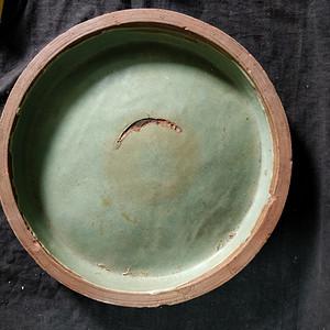 清紫砂绿釉大盘
