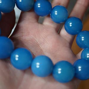 蓝玉髓圆珠手串