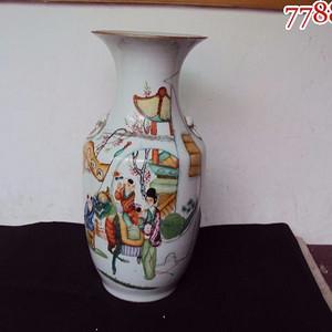 民国早期粉彩祺麟送子大花瓶一件