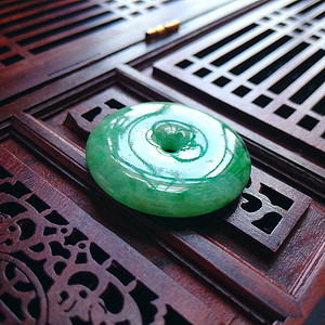 冰润阳绿平安扣吊坠