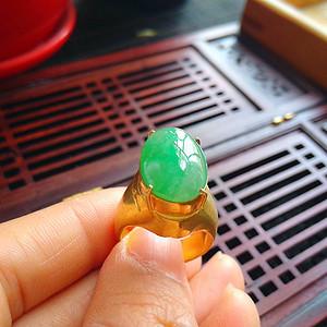 冰润满绿蛋型镶铜戒指