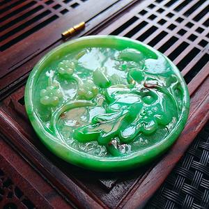 冰润满绿喜上眉梢吊坠