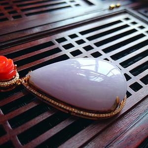 18k金伴钻冰润紫罗兰水滴吊坠