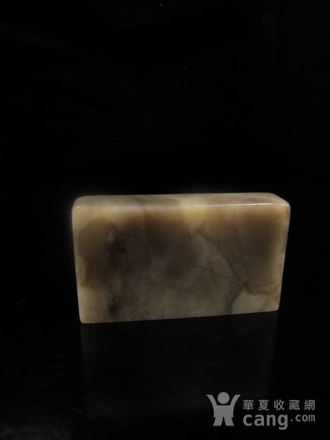 台湾回流 老矿玻璃质地巴林牛角冻缕空龙纹大章图9