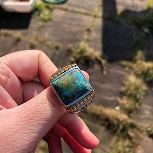 英国回流No.59 天然美国松石男款重银戒指 19.9克