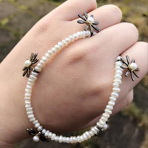 英国回流 No.62 天然珍珠银项链带花型银挂坠