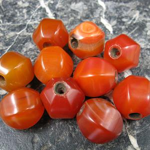 红玛瑙古珠 10粒手串