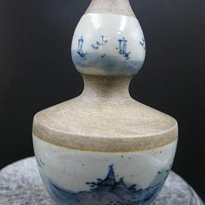 青花山水 葫芦瓶