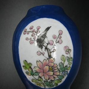 蓝釉开窗花鸟人物纹罐