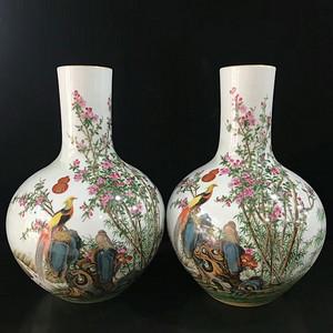 本金珐琅彩郎诗宁恭绘花鸟纹天球瓶
