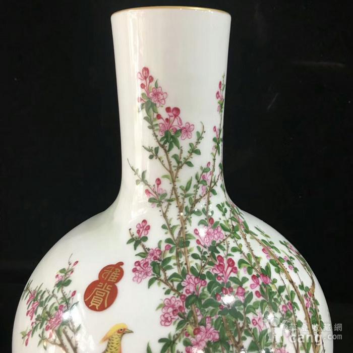 本金珐琅彩郎诗宁恭绘花鸟纹天球瓶图4