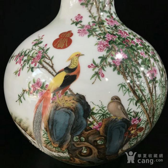 本金珐琅彩郎诗宁恭绘花鸟纹天球瓶图5