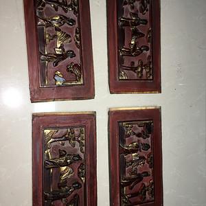 四块朱红木雕板