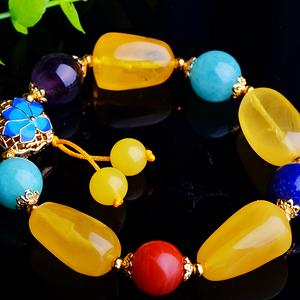 漂亮蜜蜡多宝水晶手串!波罗的海天然原矿蜜蜡金绞蜜随形手链