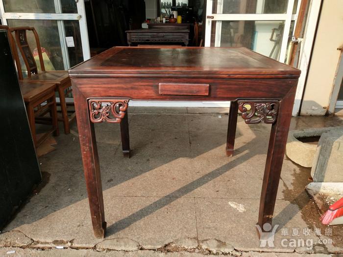 非常漂亮红酸枝方桌 龙头插角图2