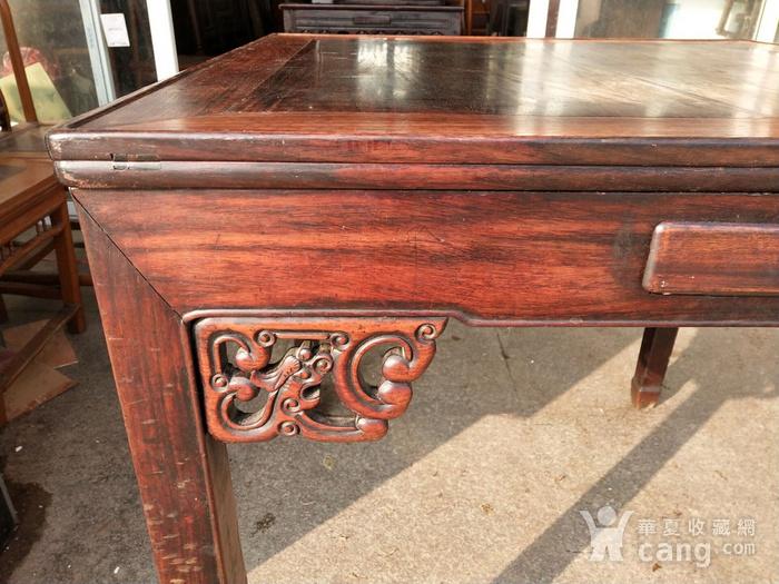 非常漂亮红酸枝方桌 龙头插角图3